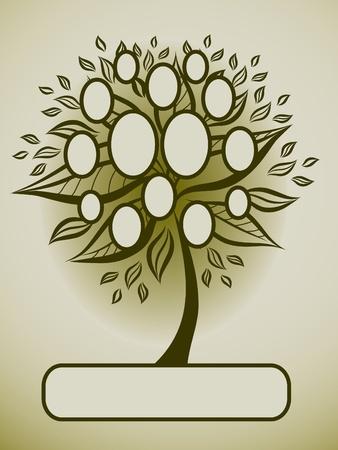 arbol genealógico: Diseño del árbol genealógico de vector con marcos y otoño hojas. Colocar texto.  Vectores