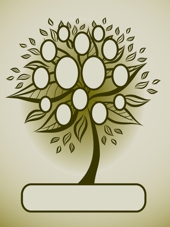 autumn leafs: Vector family tree design with frames and autumn leafs. Place for text.  Illustration