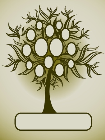 Vector family tree design with frames and autumn leafs. Place for text. Stock Vector - 9511734