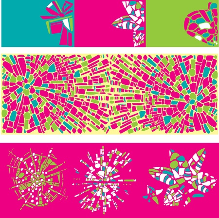 medley: Vector Set of colorful design elements and backgrounds of mosaic