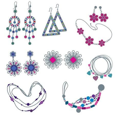 joyas de plata: conjunto de joyas de moda Vectores