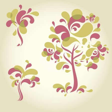 set of designs with decorative tree. Thanksgiving Vector