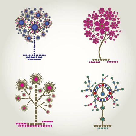 bijouterie: set of designs with decorative tree. Thanksgiving Illustration