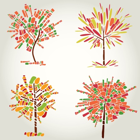 set of designs with decorative tree from mosaic. Thanksgiving Vector
