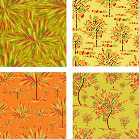 tessera: set of seamless patterns with decorative tree from mosaic. Thanksgiving