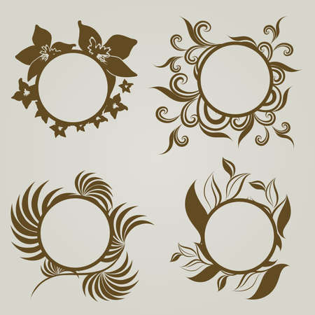 set of vintage frames with Autumn Leafs. Thanksgiving  Vector