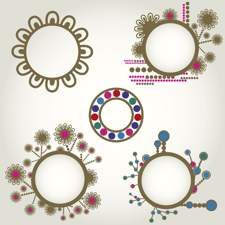 vintage frames with flowers. Thanksgiving  Vector