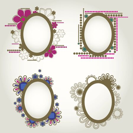 set of vintage frames with flowers. Thanksgiving Stock Vector - 9826221