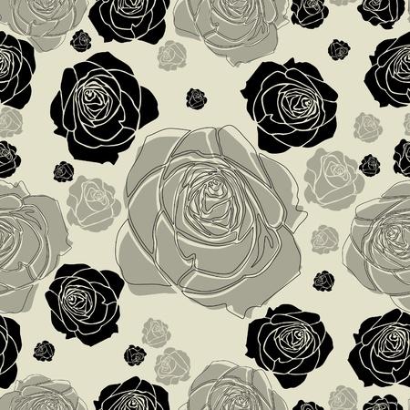 ばらとのシームレスな花柄  イラスト・ベクター素材