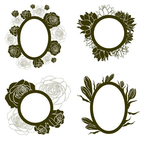 Vector set of vintage frames with flowers (from my big  Stock Vector - 9931450