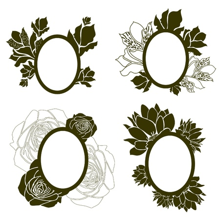 Vector set of vintage frames with flowers (from my big Stock Vector - 9931447