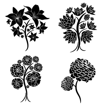 with sets of elements: Vector set of spring tree design elements (from my big