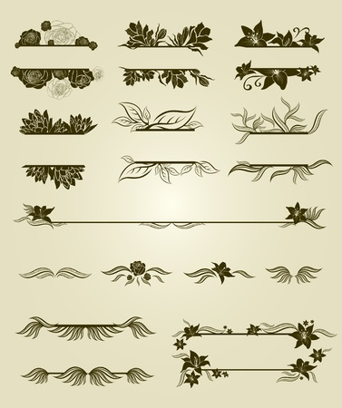 Vector set of vintage design elements with flowers  Vector