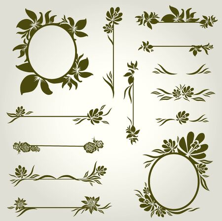 Vector set of vintage design elements with flowers Stock Vector - 9931452