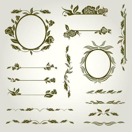 花とヴィンテージ デザイン要素のベクトルを設定  イラスト・ベクター素材