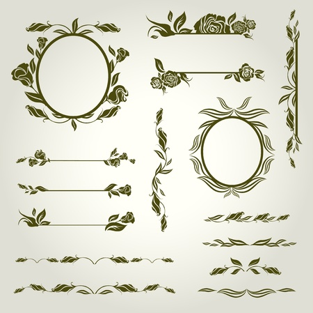 twirls: Vector set of vintage design elements with flowers