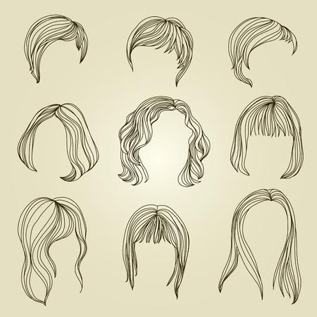 kurz: Set mit Haar-Styling f�r die Frau Illustration