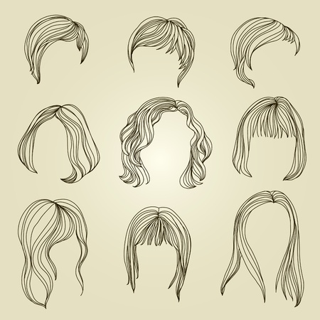 black hair: Set of hair styling for woman  Illustration