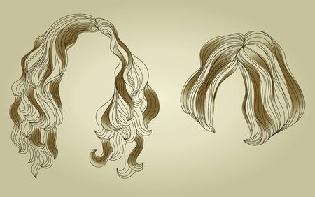woman short hair: Set of hair styling for woman   Illustration