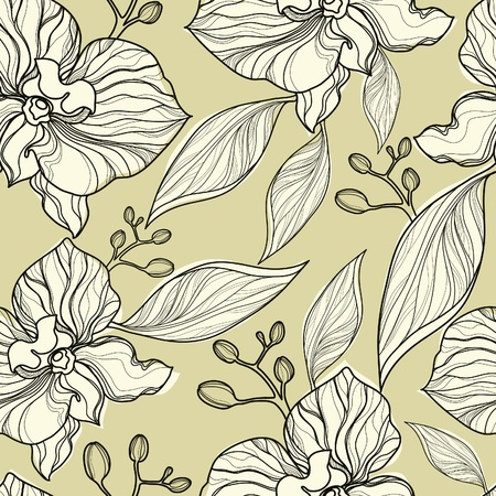 Seamless floral orchid pattern Stock Vector - 9931456
