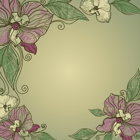 Vector vintage frame with flowers - orchid   Vector