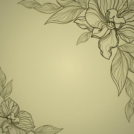 ベクトル ビンテージ フレームの花を持つラン