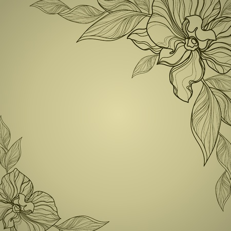Vector vintage frame with flowers - orchid   Illustration