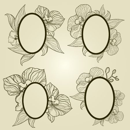 Vector set of vintage frames with flowers - orchid   Vector