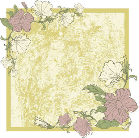 Vector vintage frame with flowers - orchid (from my big  Vector