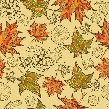 シームレスなベクター グランジ秋の葉の背景。(から私の大感謝祭