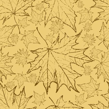 シームレスなベクター グランジ秋の葉の背景。感謝祭  イラスト・ベクター素材