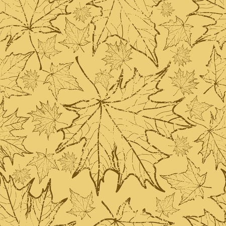 Seamless vector grunge autumn leaves background. Thanksgiving   Illustration