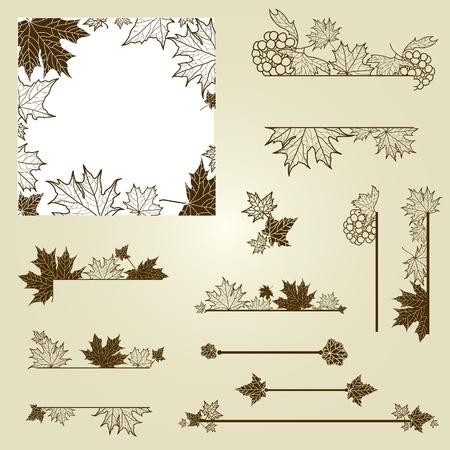 (から私の大きな葉とヴィンテージ デザイン要素のセット