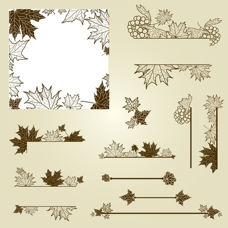 beautiful thanksgiving: Set of vintage design elements with leafs (from my big