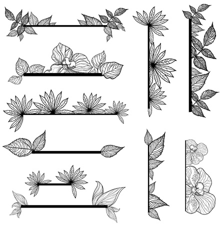 Set of vintage design elements with leafs (from my big