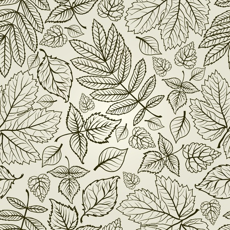 herbarium: Seamless grunge autumn leaves background. Thanksgiving (from my big