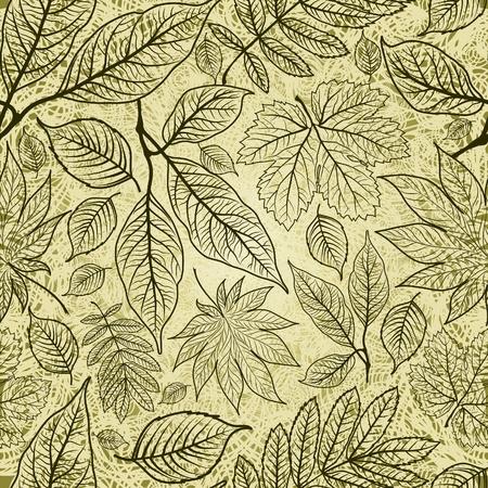シームレスなグランジ秋の葉の背景。(から私の大感謝祭  イラスト・ベクター素材
