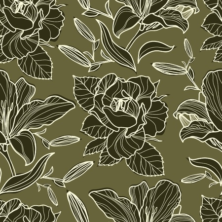 rose bush: Vector seamless floral pattern (from my big