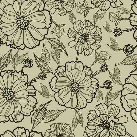 (から私の大きなベクトル シームレスな花柄  イラスト・ベクター素材