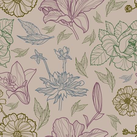 ベクトル (から私の大きな標本でシームレスな花柄  イラスト・ベクター素材