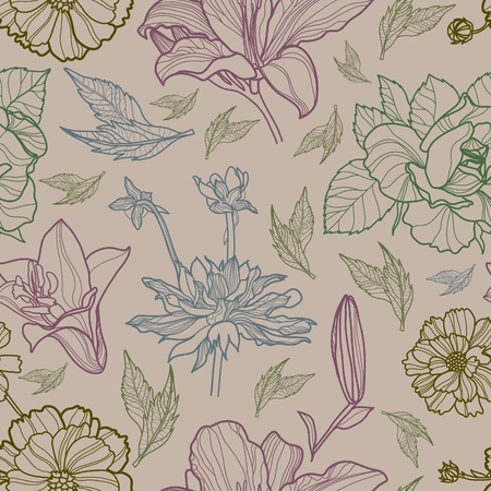 rose bush: Vector seamless floral pattern with herbarium (from my big  Illustration