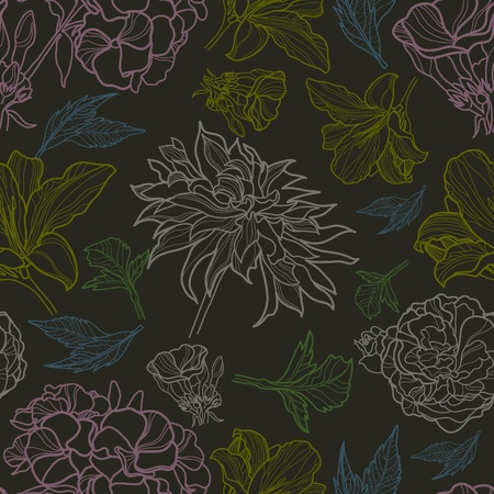 tree peony: Vector seamless floral pattern with herbarium (from my big  Illustration