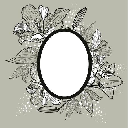 Vector vintage romantic frame design with flowers