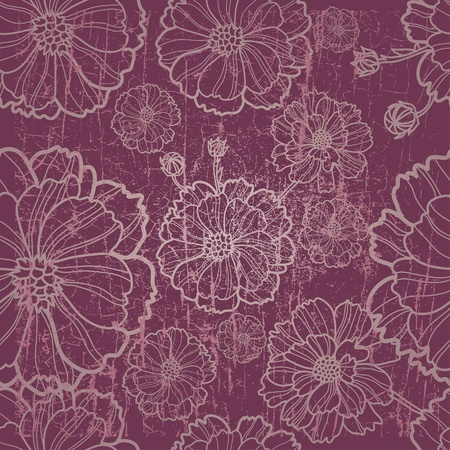tree peony: Vector seamless grunge floral pattern with herbarium (from my big
