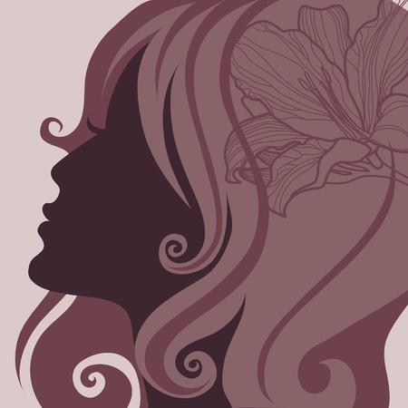 melancholy: Vector close-up portret van een meisje met mooie haren (van mijn grote Stock Illustratie