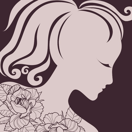 hatchwork: Vector closeup portrait of a girl with beautiful hair (from my big