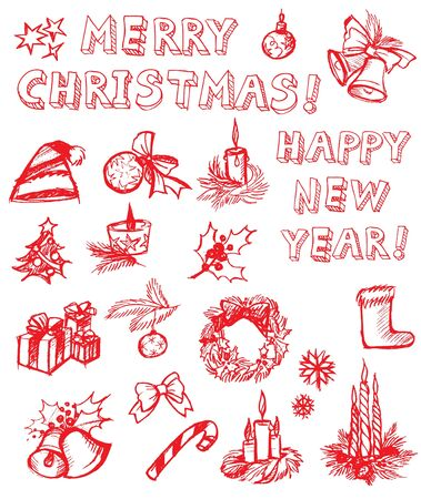 christmas bell: Vector set of Christmas freehand drawing design elements Illustration