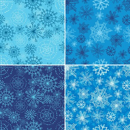 elebration: Vector set of seamless Christmas patterns with grunge snowflakes (from my  Illustration