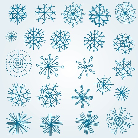 miscellaneous: Set of vector twenty five miscellaneous snowflakes