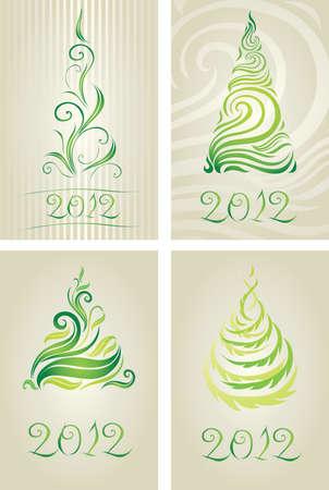 twirled: Vector set di carte decorative con albero di Natale (dal mio